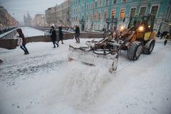 Snömaskiner i centret Royaltyfria Foton