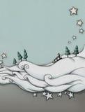 Snömoln med släden Royaltyfria Bilder