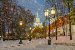 Snön på väggarna av MoskvaKreml Royaltyfri Fotografi