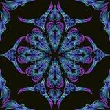 Snör åt blått blom- för neon den sömlösa östliga prydnaden för modellen Vektor Illustrationer