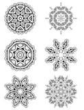 Snör åt den abstrakta blom- rundan för vektoruppsättning 6 prydnaden Royaltyfria Foton