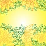 Snör åt det abstrakta bladet för Batik på gul bakgrund Fotografering för Bildbyråer