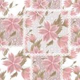 Snör åt sömlös vit för patchworken den retro rosa blommamodellen Royaltyfri Fotografi
