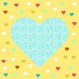 Snöra åt blå hjärta Arkivfoton