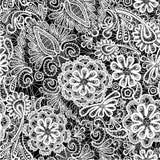 Snöra åt den sömlösa modellen med blommor - tygbackgr stock illustrationer