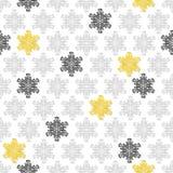 Snöra åt gråa snöflingor för guling på vit Royaltyfria Bilder