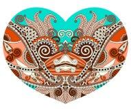 Snöra åt hjärtaform med den etniska blom- paisley designen för valentin royaltyfri illustrationer