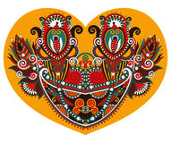 Snöra åt hjärtaform med den etniska blom- paisley designen för valentin vektor illustrationer
