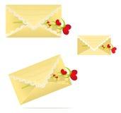 Snöra åt kuvertet med en blommahjärta Arkivfoton