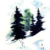 Snöskog vektor illustrationer
