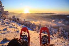 Snöskosolnedgång Royaltyfria Bilder