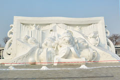 Snöskulpturen - tecknad film Royaltyfri Bild