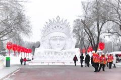 Snöskulpturer Kina, Harbin solö internationell snöskulptur Art Expo Lokaliserat i den Harbin staden, Heilongjiang, Kina arkivbilder