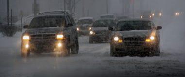 Snöstorm i Chicago, Il Arkivfoton