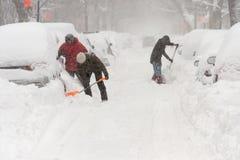 Snöstorm Stella i Montreal royaltyfria foton