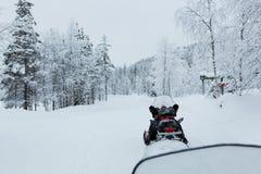 Snövessla i ett snöig Lapland landskap arkivbilder