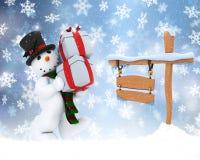 snöig julteckensnowman Fotografering för Bildbyråer
