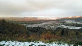 Sn? t?ckte kullar i North Yorkshire heder, England arkivfoto