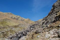 Snabb bergström som dråsar mellan klippor i ett dalsjöområde, UK royaltyfri bild