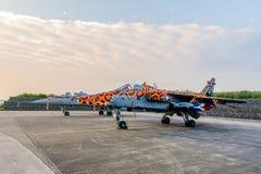Snabb Jet Fighters ställning för två SEPECAT Jaguar i morgonljuset royaltyfria foton