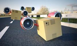 Snabb leverans av jordlott- och lastbehållaren med lastbilen eller flygplan Royaltyfri Foto