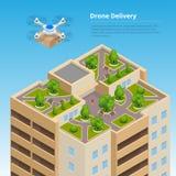 Snabb leverans för isometriskt surr av gods i staden Teknologiskt sändningsinnovationbegrepp Autonom logistik royaltyfri illustrationer