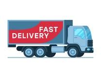 Snabb leverans Grey Big Shipping Truck för lager stock illustrationer