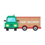 Snabb leverans till och med den stora lastbilen Royaltyfria Bilder