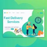Snabb leveransservice som landar sidabegrepp f?r website och mobil utveckling Modern plan illustration stock illustrationer