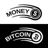 Snabb linje myntvektor för pengarbitcoinrörelse Arkivfoto