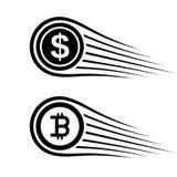 Snabb linje myntvektor för pengarbitcoinrörelse Royaltyfria Foton