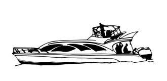 Snabb motorbåt eller yacht vektor illustrationer