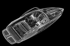 Snabb motorbåt som rusar powerboaten Arkivbild
