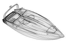 Snabb motorbåt som rusar powerboaten Royaltyfri Bild