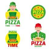 Snabb pizzaleveransuppsättning royaltyfri illustrationer
