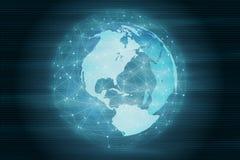 Snabb rörande teknologi som kör världen Futuristisk ledd jordklotsfär royaltyfri illustrationer