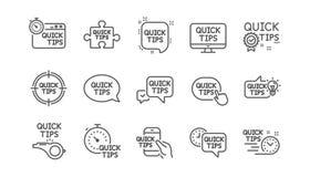 Snabb spetslinje symboler Hjälpsamma trick, lösnings- och Quickstart handbok Linjär symbolsuppsättning vektor royaltyfri illustrationer