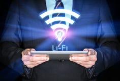 Snabb trådlös anslutning Li-Fi Arkivfoto