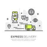 Snabb uttrycklig hemsändning med mobil spårning och fastar köpet, smart system vektor illustrationer