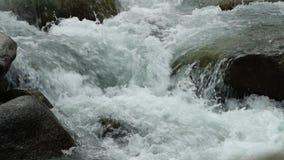 Snabb vattenfall nära kullarna lager videofilmer