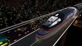 Snabba flyttningar för passageraredrev i en glass tunnel stock video