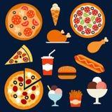 Snabbmat-, drink- och efterrättmenuflatsymboler Royaltyfria Bilder