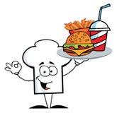Snabbmat för serving för kockhattgrabb stock illustrationer