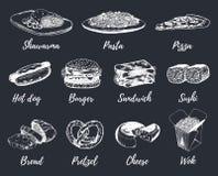 Snabbmat skissar vektoruppsättningen Räcka utdragna internationella kokkonstsymboler för menyn för mellanmålstången, den svart ta Royaltyfri Bild