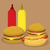 Snabbmathamburgare- och Hotdogvektor Arkivfoto