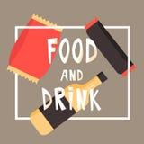 Snabbmatmellanmål och drink Plan vektorillustration kinesisk maskinvending Royaltyfri Fotografi