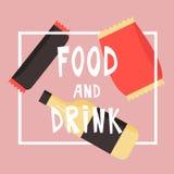 Snabbmatmellanmål och drink Plan vektorillustration kinesisk maskinvending Arkivbild