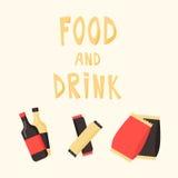 Snabbmatmellanmål och drink Plan vektorillustration kinesisk maskinvending Arkivfoto