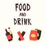 Snabbmatmellanmål och drink Plan vektorillustration kinesisk maskinvending Royaltyfria Foton
