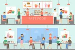 Snabbmatrestaurang stock illustrationer